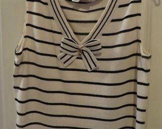 St. John Black Knit black & ivory striped Sweater Set 2PCS (detail)