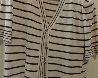 St. John Black Knit black & ivory striped Sweater Set 2PCS