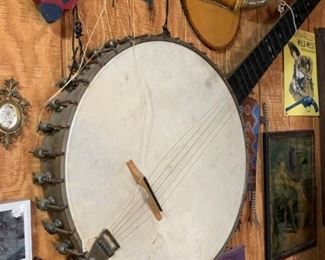 Giant banjo formerly in a window display from Marshall Field.