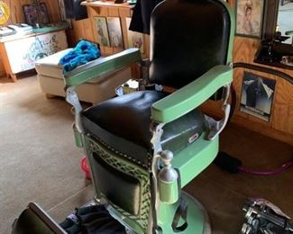 Vintage barber chair. Available for pre-sale. Text offers to 847-772-0404.