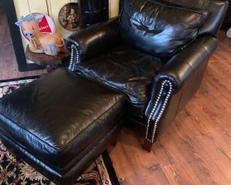 Fine leather chair and ottoman - also a matching sofa available!