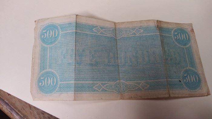 1864 Confederate $500