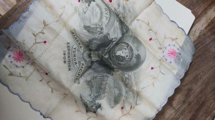 Antique Hanky Alaska Pacific Yukon Exposition c1909-Silk Souvenir Handkerchief