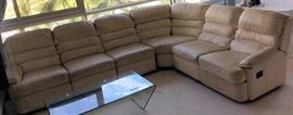 WWT006 Beige Leather Sectional Sofa