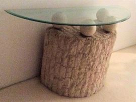 WWT010 Stone & Glass Top Entry Table
