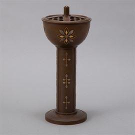 A striking Japanese Meiji era mixed metal censer decorated with applied silver and copper. Signed on bottom Kotaro (Kotarou) Saku Tsukuta. Dimensions: Height: 11 in x diameter: 5 3/4 in.