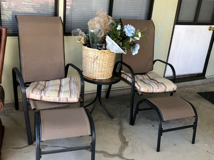 Lounge chairs, tables for patio