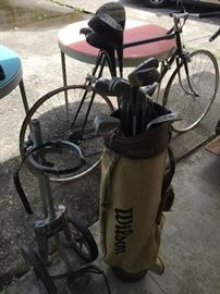 vintage clubs and cart