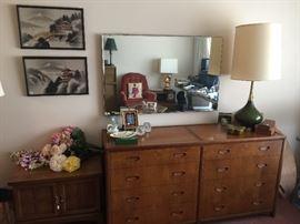 Mid-century modern dresser, lamp, end table