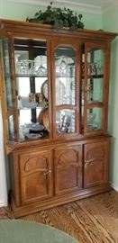 Two piece, lighted china cabinet