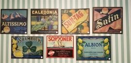 Vintage framed fruit crate labels