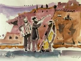"""Original framed watercolor by Arie Tsarfaty. Frame measures 23"""" x 17"""", Image 19"""" x 13""""."""