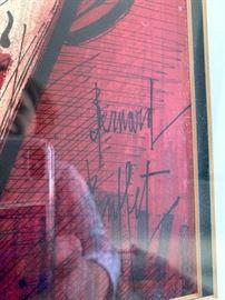 """Vintage mid-century framed print signed Bernard Buffet. Frame measures 19"""" x 15"""", Image 11 1/4"""" x 8 1/4""""."""