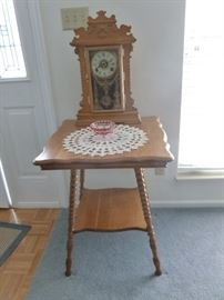 Antique Kitchen Clock and vintage parlor table