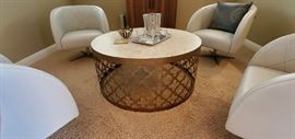 """Hook Arcadia 42"""" round marble and brass table $600.00"""