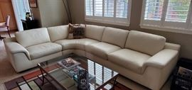 Cream Leather 3 piece sectional $1000.00 has some wear
