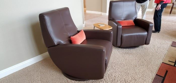 """Cardinal Contemporary Styled Upholstered Recliner by American Leather Cardinal Collection 800.00 each Sku: CDR-REC-ST (Chocolate)                                Manufacturer American Leather Width (side to side)28"""" W Depth (front to back)35"""" D Height (bottom to top)40"""" H Arm Height23"""" Seat Depth23"""" Style: Mid-Century Modern Style: Contemporary Base Type: Glider Base Arm TypeTrack Arm Arm: Lawson Seat Back: Buttonless Tufted Seat Back Seat: Premium High-Density, High-Resiliency Foam  Base Description: Upholstered Swivel Base"""