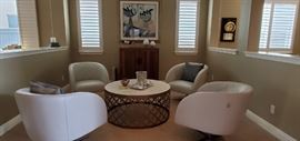 4 beautiful leather diamond tuck barrel  swivel chairs by Marina Exotic Home Interiors 200.00 Each