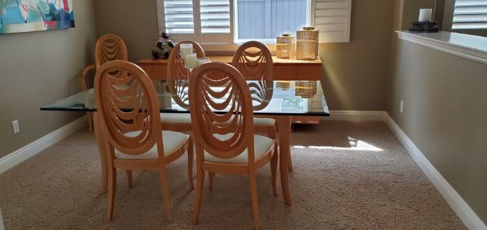 """Beautiful Pietro Costantini Glass top table and 6 high back chairs.  Table is 72"""" x 42"""" x 26"""" Chairs are approx. 42"""" tall         $2,000"""