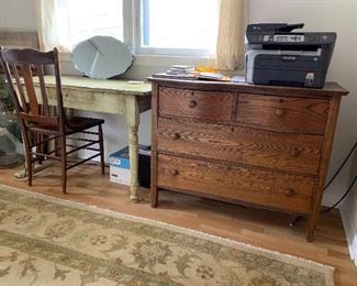 Various oak dressers, vanity, chairs
