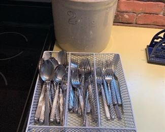 Kitchenware including flatware set, crock and utensils