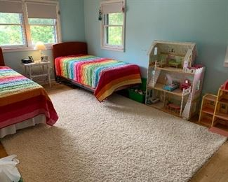 Twin size bedspreads, toys and dollhouses