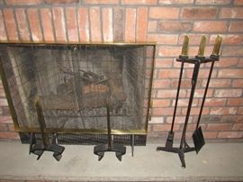 Donald Deskey for Bennett mid century modern Fireplace Screen , Tools and Andirons