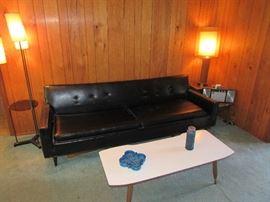 Mid Century Modern Vinyl Sofa and Lamps