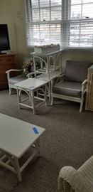 Rattan - painted white: two chairs, one coffee table, two end tables & one square table - STURDY!