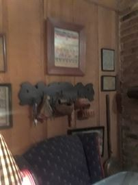 Carved wooden rack; samplers