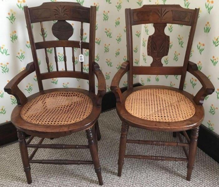 Lot of 2 Cane Bottomed Carve Back Chairs