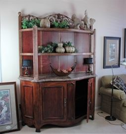 """Hickory White """"Provence"""" credenza/ China Hutch with marble deck.  Gorgeous! French Country"""