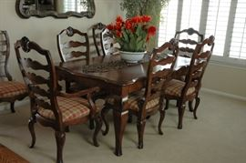 """Gorgeous Dining room set by HICKORY WHITE.  """"Provence"""" distressed solid cherry table with 8 ladder back chairs."""