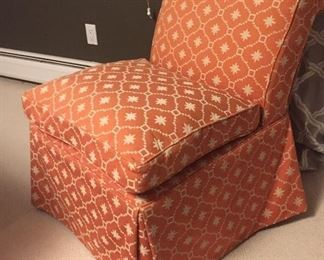Slipcovered chair Scalamandre fabric.