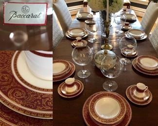 ROYAL DALTON set of 12 settings (minus 1cake plate)$2000.     BACCARAT GLASSES SEPARATE