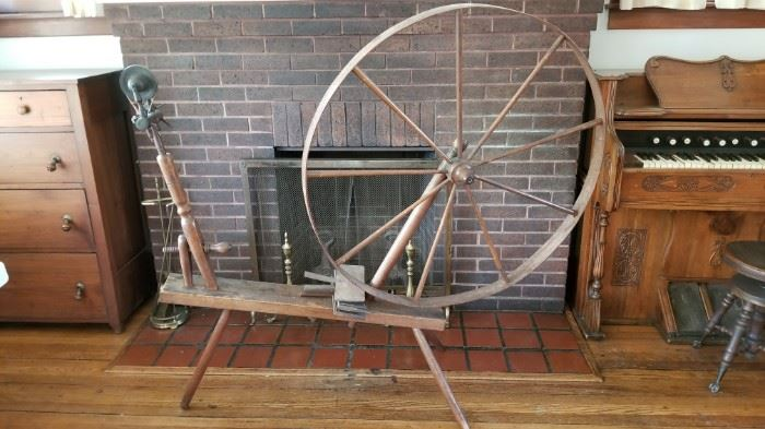 Antique Walking Spinning Wheel  with original patina. Family owned