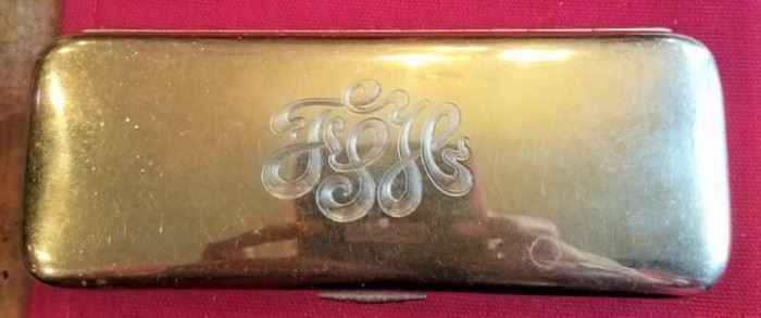 14K Gold Container Monogrammed Lid Detail for Louis Vuitton Suitcase
