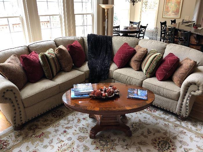 Hekman table & custom Taylor King down sofa
