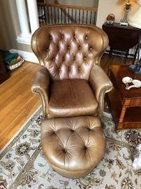 Bradington Young tufted leather chair & ottoman