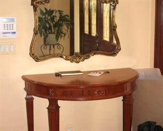Ornate Framed Mirror and Demi-lune Foyer Table