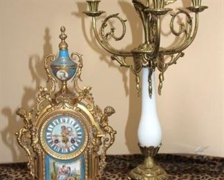 Quality, Vintage Clock and Candelabra