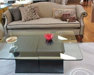 Sofa, Contemporary Glass Coffee Table and Accent Pillows