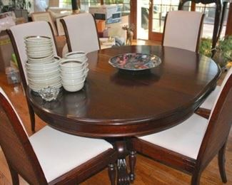 Oval Pedestal Dining Room Table & 6 Chairs with Dishware