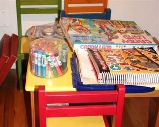 Kid's Table with 4 Colorful Chairs and Kid's Crafts and Coloring