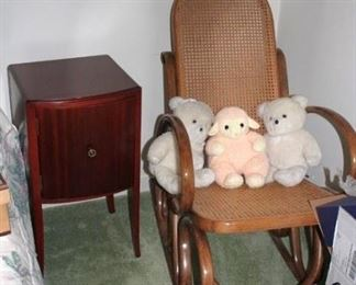 Small Chest, Rocking Chair and Stuffed Animals