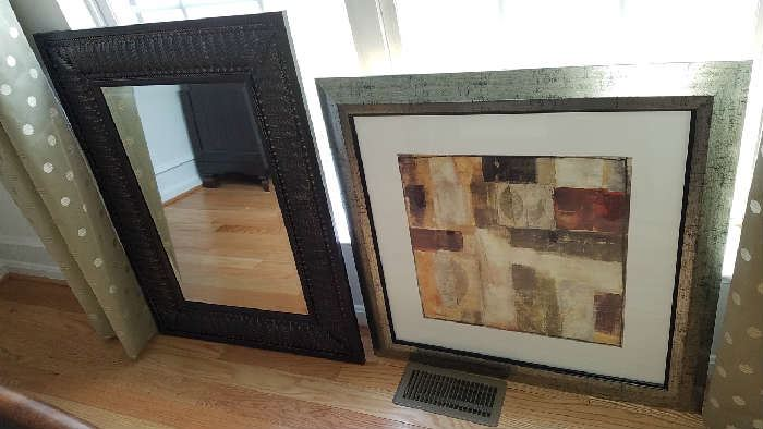 framed decorative art and mirrors