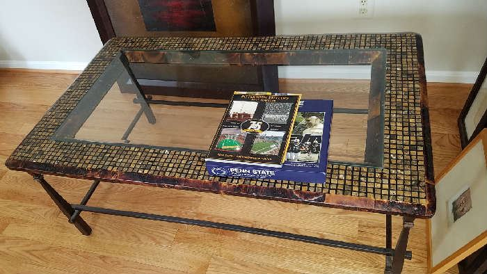 mosaic iron and glass top coffee table