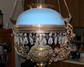 Victorian Chandelier W/ Blue Glass Shade