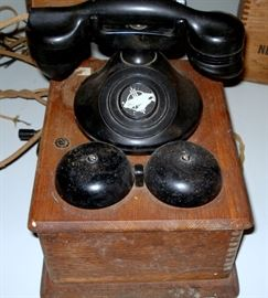 Antique Phone with Oak Bell Box