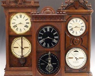 Ithaca  No. 6 1/2 Belgrade, No. 13 Shelf Kildare and No. 5 Emerald double dial calendar shelf clocks